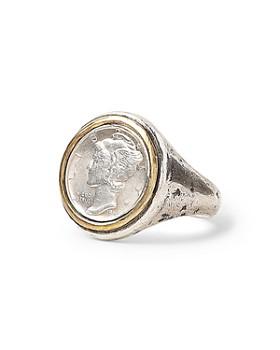 John Varvatos Collection - Sterling Silver & Brass Artisan Metals Mercury Dime Signet Ring