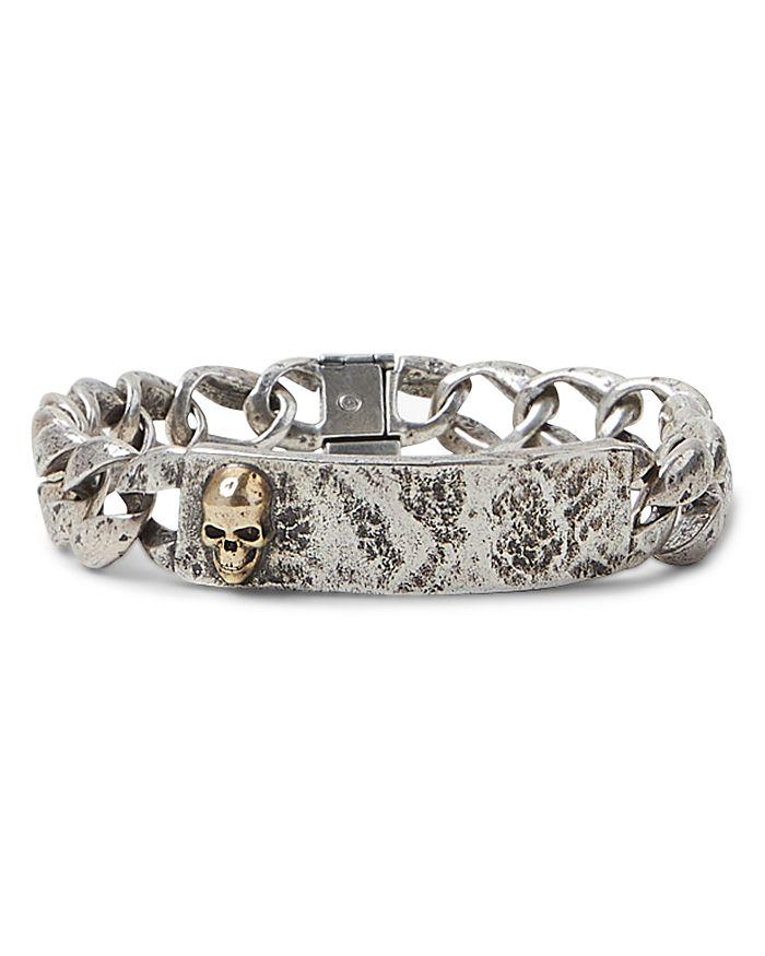 John Varvatos Sterling Silver & Brass Skulls & Daggers I.D. Bracelet