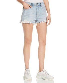 alexanderwang.t - Bite Clash Mixed-Media Denim Cutoff Shorts in Bleach/Heather Gray