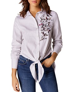 KAREN MILLEN - Lotus Embroidered Tie-Front Shirt