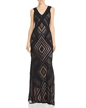 Bcbgmaxazria Knit Fringe Gown