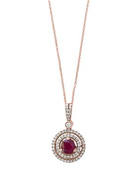 """Bloomingdale's - Ruby & Diamond Halo Pendant Necklace in 14K Rose Gold, 18"""" - 100% Exclusive"""