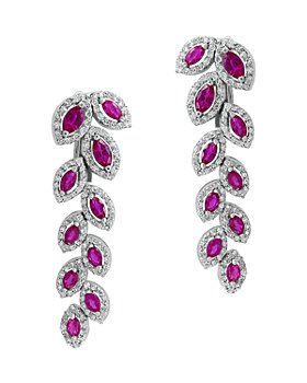 Bloomingdale's - Certified Ruby & Diamond Feather Drop Earrings in 14K White Gold - 100% Exclusive