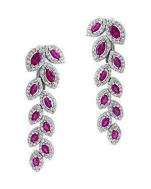 Bloomingdale's Certified Ruby & Diamond Feather Drop Earrings in 14K White Gold - 100% Exclusive