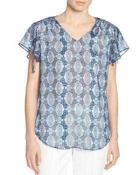 T Tahari - Printed Flutter-Sleeve Top