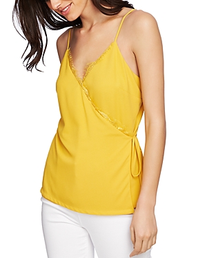 1.state Tops SLEEVELESS LACE-TRIM WRAP TOP