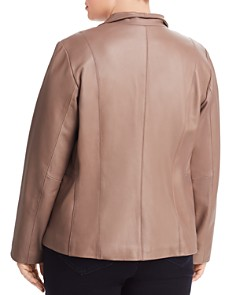 Cole Haan Plus - Leather Zip Jacket
