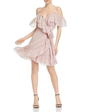 Wayf Elise Ruffled Cold-Shoulder Wrap Dress