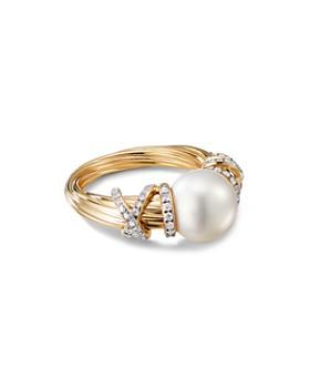 David Yurman - 18K Yellow Gold Helena Cultured Freshwater Pearl & Diamond Ring