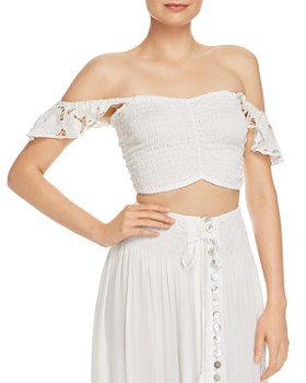 Tiare Hawaii - Hollie Off-the-Shoulder Eyelet-Detail Cropped Top