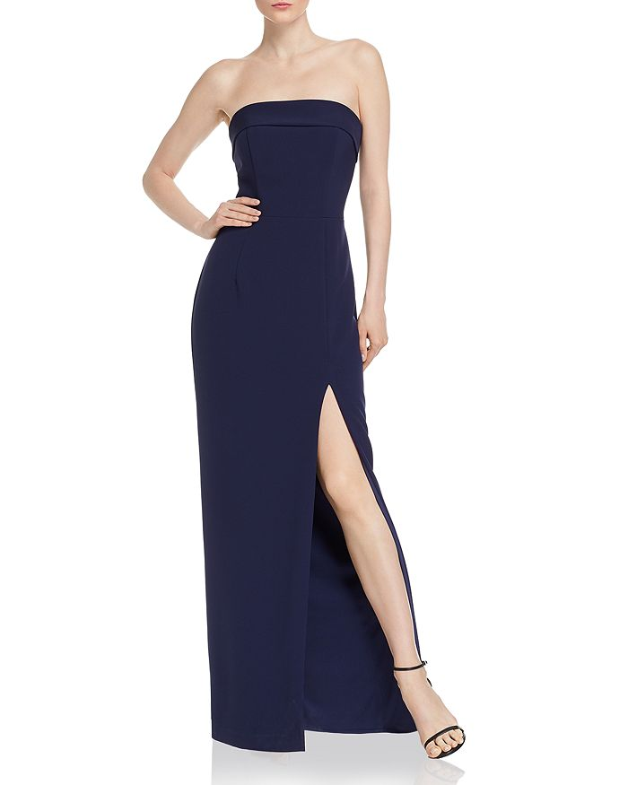 AQUA - Strapless Twill Gown - 100% Exclusive