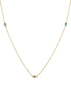 Chan Luu - Evil Eye Station Necklace in 18K Gold-Plated Sterling Silver, 15""