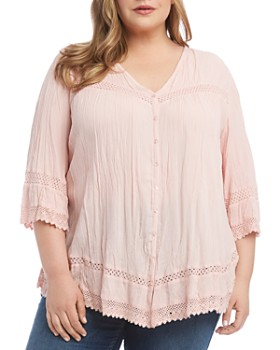 Karen Kane Plus - Lace-Inset Top