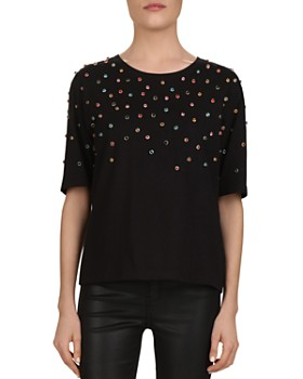 The Kooples - Multicolor Studded Jersey Tee