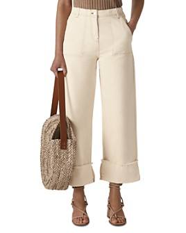 Whistles - High-Rise Cropped Wide-Leg Jeans in Ivory Multi