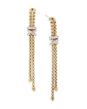 David Yurman - 18K Yellow Gold Helena Chain Earrings with Diamonds