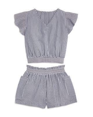 Girls' Striped V-neck Top, Big Kid - 100% Exclusive