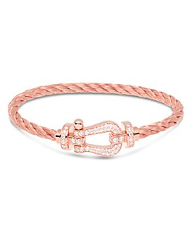 Fred - 18K Rose Gold Force 10 Large Diamond Buckle & Cable