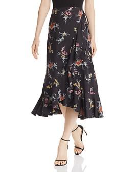 PAIGE - Alamar Orchid-Print Midi Wrap Skirt