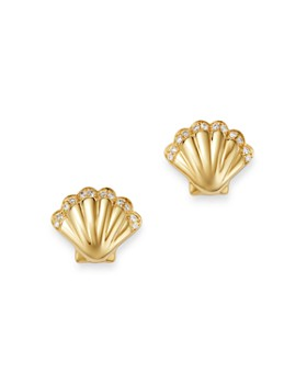 Bloomingdale's - Diamond-Accent Shell Stud Earrings in 14K Yellow Gold, 0.10 ct. t.w. - 100% Exclusive