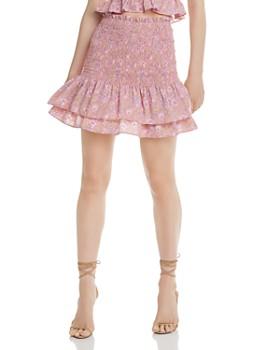 LIKELY - Kenzie Smocked Floral-Print Mini Skirt
