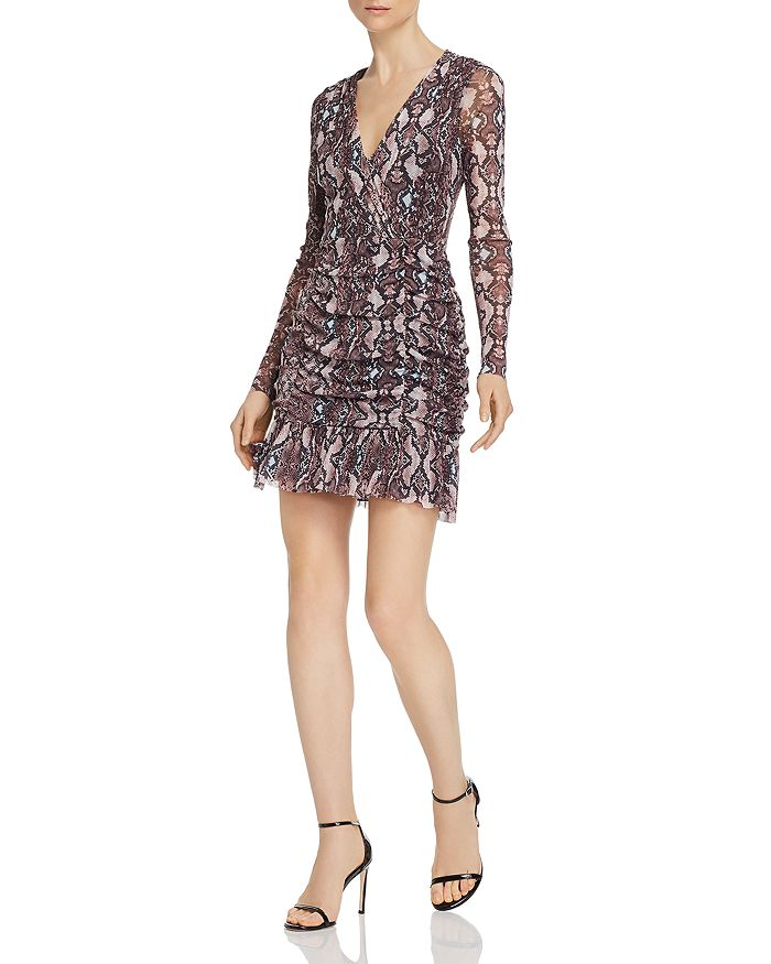 Parker - Tina Snakeskin-Print V-Neck Mini Dress