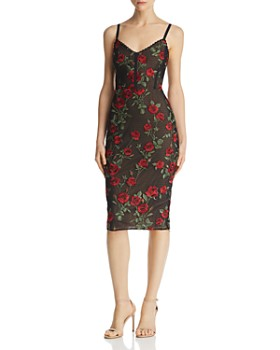 BCBGMAXAZRIA - Embroidered Rose Sheath Dress