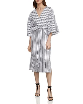 d820de853d03 BCBGMAXAZRIA - Striped Robe Faux-Wrap Dress ...