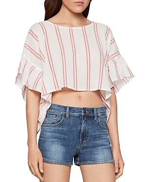 Bcbgeneration Tops STRIPED GAUZE CROPPED TOP
