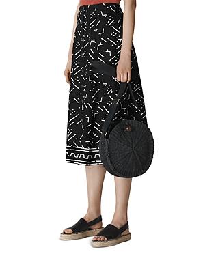 Whistles Printed Button-Down Linen Midi Skirt