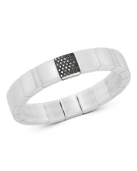 Roberto Demeglio - 18K White Gold & White Ceramic Domino Black Diamond Stretch Bracelet