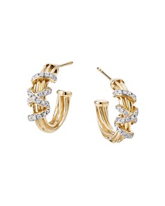 David Yurman - 18K Yellow Gold Helena Small Hoop Earrings with Diamonds