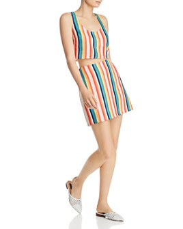 AQUA - AQUA Rainbow-Stripe Cropped Top & Skirt - 100% Exclusives