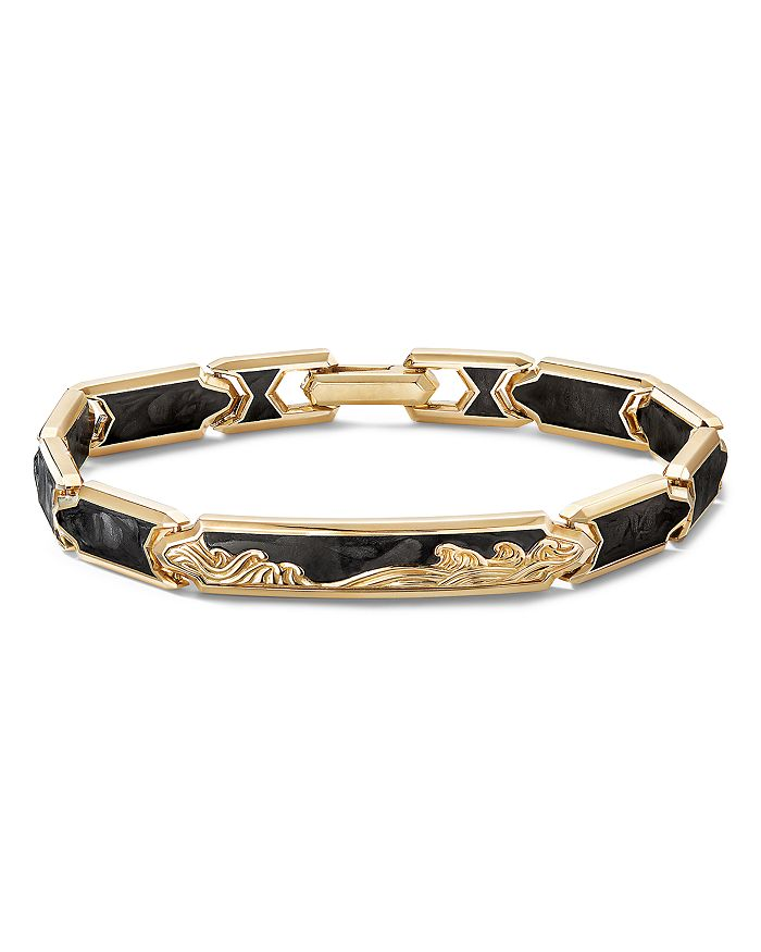 18k Yellow Gold Waves I D Link Bracelet With Forged Carbon