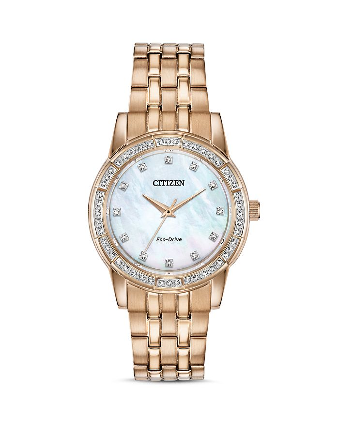 Citizen SILHOUETTE CRYSTAL-EMBELLISHED ROSE GOLD-TONE WATCH, 31MM