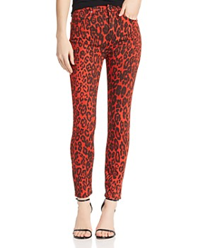7 For All Mankind - High Waisted Ankle Skinny Jeans in Red Cheetah