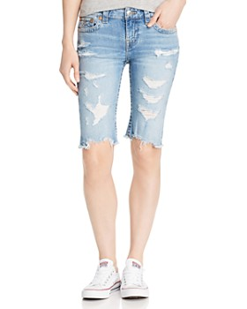 True Religion - Riley Shredded Denim Bermuda Shorts