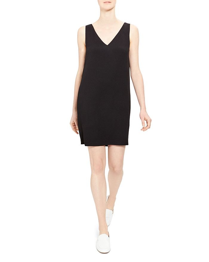 Theory V-Neck Shift Dress In Black