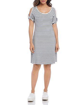Karen Kane - Striped Cold-Shoulder Tee Dress