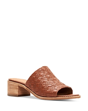 Frye Sandals WOMEN'S CINDY WOVEN LEATHER BLOCK HEEL SANDALS