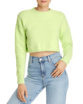 Bardot - Cropped Fluffy Sweater