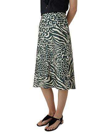 KAREN MILLEN - Animal-Print Slip Skirt
