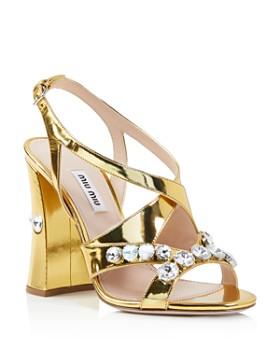 Miu Miu - Women's Metallic Crystal-Embellished Block Heel Sandals