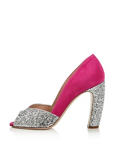 Miu Miu - Women's Glitter Peep Toe Pumps