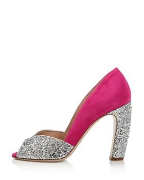 Miu Miu - Women's Glitter Peep Toe Pumps