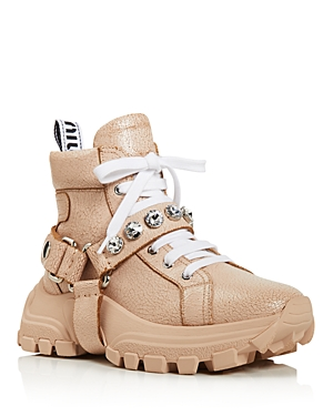 Miu Miu Boots WOMEN'S MONSTAR CRYSTAL-EMBELLISHED HIKING BOOTS