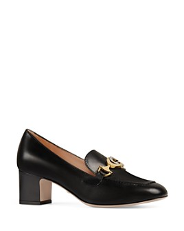 Gucci - Women's Zumi Leather Mid-Heel Loafers