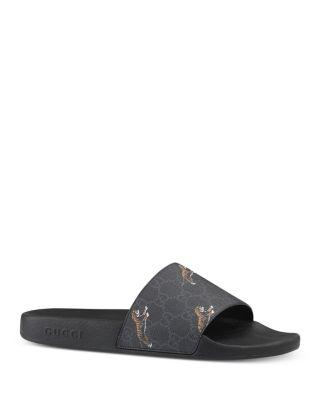 Men\u0027s GG Supreme Tiger Slide Sandals