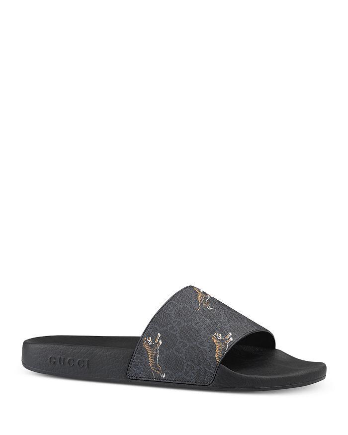 Gucci Men S Gg Supreme Tiger Slide Sandals