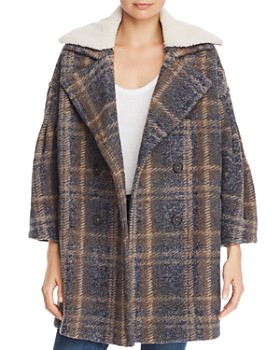 Joie - Angalina Double-Breasted Plaid Coat